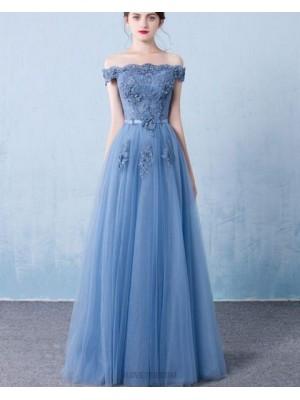 Off The Shoulder Blue Appliqued Tulle Long Prom Dress