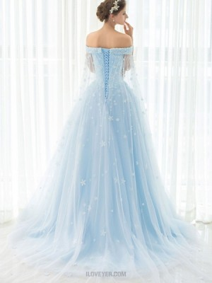 Gorgeous Light Blue Tulle Appliqued Off The Shoulder Ball Gown Evening Dress