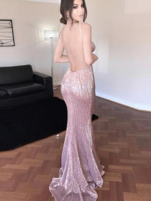 V Neck Gold Sequined Mermaid Style Evening Dress With Open Back