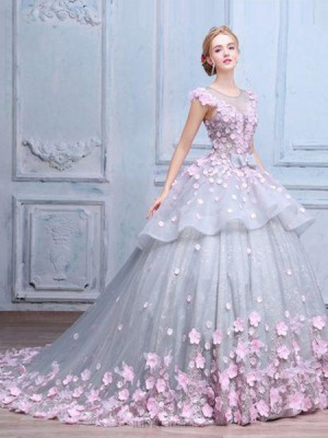 Elegant Jewel Sheer Grey Tulle And Lace Ball Gown Quinceanera Dress With Handmade Flowers