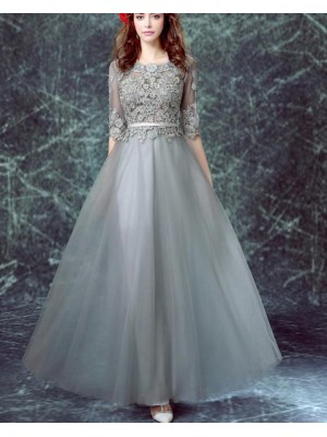 Jewel Grey Appliqued Bodice Tulle Formal Dress With Half Sleeves