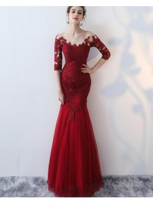 Off The Shoulder Burgundy Appliqued Mermaid Prom Dress With Half Length Sleeves
