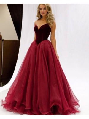 Simple Sweetheart Red Tulle Long Ball Gown Prom Dress