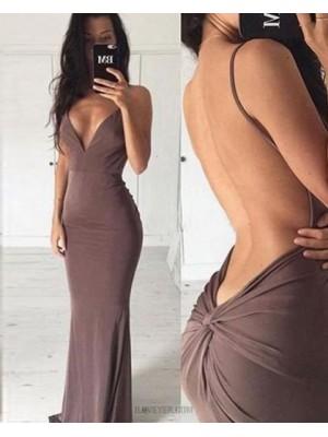 Deep V Neck Brown Satin Mermaid Long Formal Dress With Open Back
