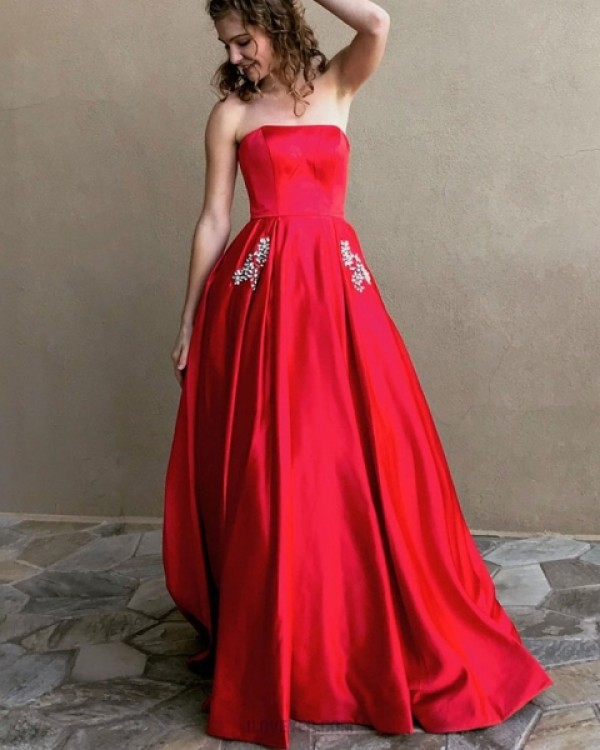 Strapless Red Satin Simple Long Prom Dress With Beading Pockets