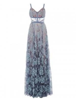 Stunning Spaghetti Straps Blue Lace Sheath Long Prom Dress
