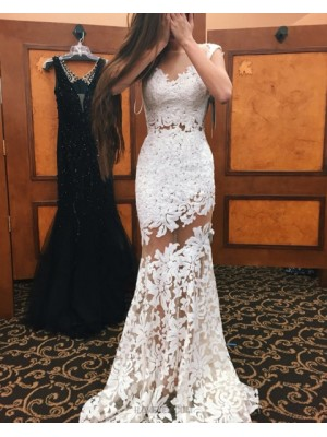Sheer Neck White Lace Mermaid Style Long Prom Dress