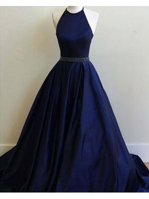 Halter Navy Blue Satin Long Prom Dress With Beading Belt