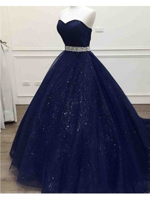 Sparkle Navy Blue Sweetheart Tulle Long Prom Dress With Beading Belt
