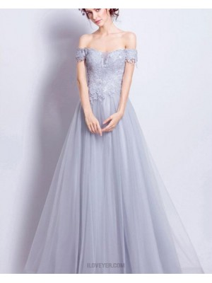 Off The Shoulder Dusty Blue Lace Appliqued Bodice Long Prom Dress
