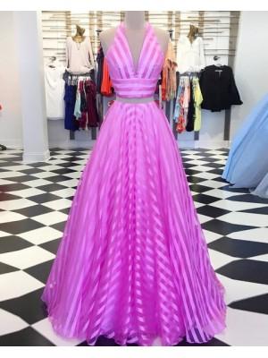 Two Piece Halter Strips Blush & White Long Prom Dress