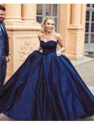 Simple Sweetheart Navy Blue Satin Ball Gown Evening Dress