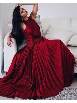 Elegant Halter Rose Red Satin Pleated Long Prom Dress