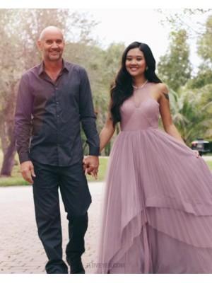 Sheer Neck Light Purple Layered Tulle Long Prom Dress