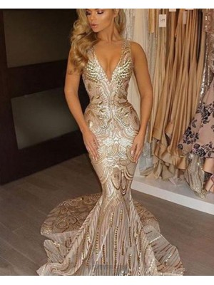 Deep V Neck Gold Sequined Mermaid Style Evening Dress