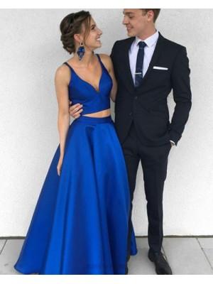 Simple Deep V Neck Royal Blue Satin Two Piece Prom Dress