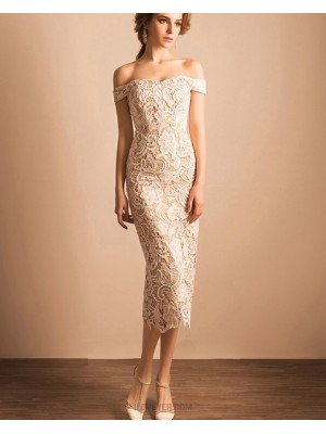 Off The Shoulder Ivory Lace Ankle Length Sheath Graduation Dress