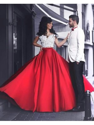 Two Piece White And Red Off The Shoulder Prom Dress With Handmade Flowers