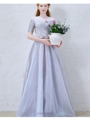 Sheer Neck Ruched Tulle Dusty Blue Formal Dress With Half Length Sleeves