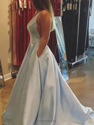 Simple Deep Light Blue Satin Long Prom Dress With Pockets