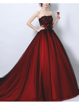 Strapless Lace Bodice Burgundy Ball Gown Evening Dress