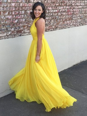 Simple Halter Pleated Yellow Chiffon Long Prom Dress