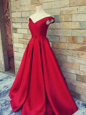 Off The Shoulder Burgundy Satin Simple Long Prom Dress