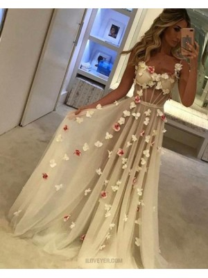 Square Long Tulle Champagne Evening Dress With Handmade Flowers