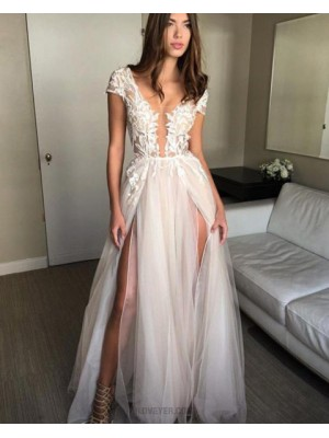 Scoop Lace White Appliqued Tulle Long Prom Dress With Double Slits