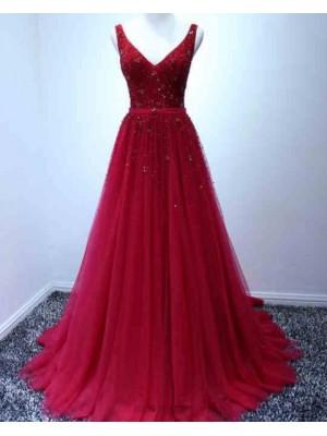 Elegant V Neck Burgundy Beading Tulle Long Prom Dress