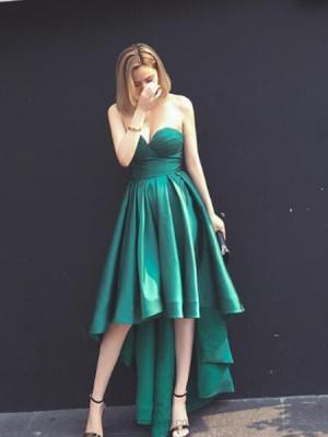 Elegant Sweetheart High Low Green Satin Prom Dress
