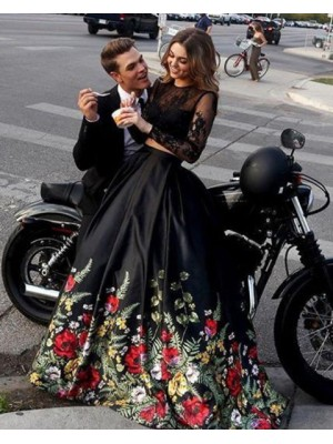 Two Piece Black Long Sleeve Prom Dress With Floral Print Skirt