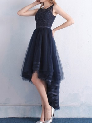 Jewel Navy Blue Beading High Low Tulle Prom Dress