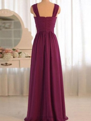 Ruched Crisscross Burgundy Chiffon Bridesmaid Dress