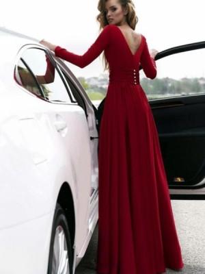 Deep V Neck Burgundy Satin Slit Prom Dress With Long Sleeves