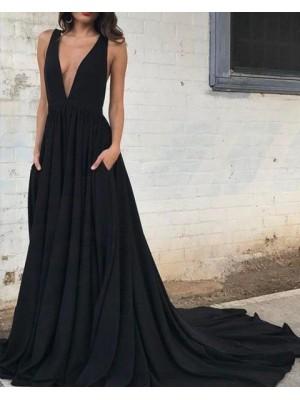 Deep V Neck Black Pleated Satin Prom Dress With Pockets