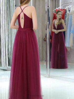 Halter Burgundy Pleated Tulle Prom Dress With Side Slit