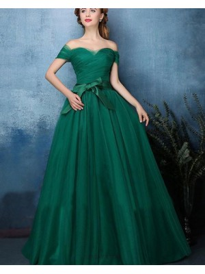 Off The Shoulder Green Ruched Tulle Long Prom Dress
