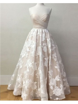 Sweetheart Light Pink Lace Appliqued Long Prom Dress
