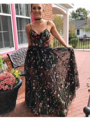 Spaghetti Straps Floral Lace Long Prom Dress