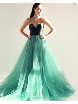 Sweetheart Black And Green Tulle Long Prom Dress With Open Back