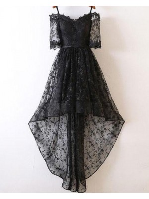 Cold Shoulder Black Lace High Low Prom Dress With Half Length Sleeves