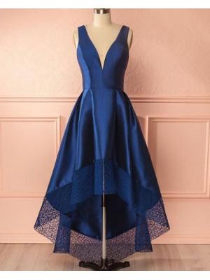Deep V Neck Royal Blue High Low Prom Dress With Lace Hem