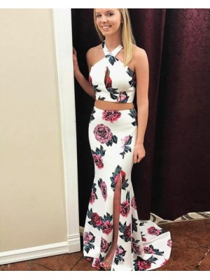 Halter Floral Print Two Piece Mermaid Prom Dress With Side Slit
