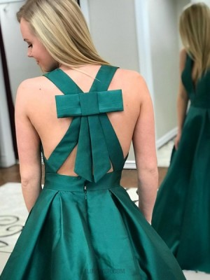 Simple Deep V Neck Green Satin Long Prom Dress With Pockets