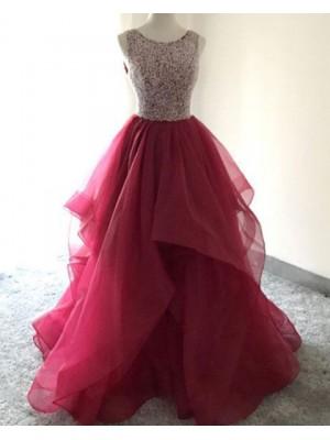 Burgundy Beading Bodice Burgundy Ruffled Ball Gown Prom Dress