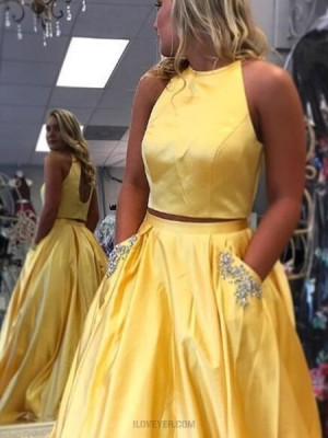 Simple Two Piece Yellow Satin Prom Dress With Beading Pockets