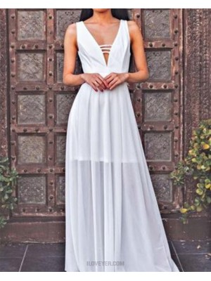 Deep V Neck Tulle Cutout White Pleated Prom Dress