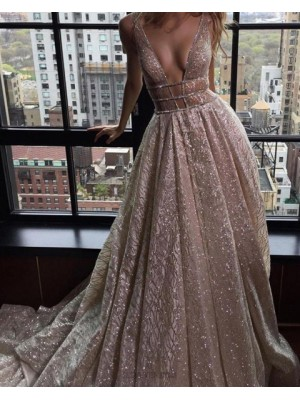 Deep V Neck Pleated Sparkle Sequined Champagne Evening Dress