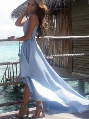 Simple V Neck Blue Pleated High Low Satin Prom Dress